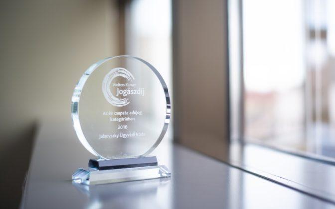 WK Jogászdíj 2018 - Jalsovszky Ügyvédi Iroda, év csapata, adójog kategória