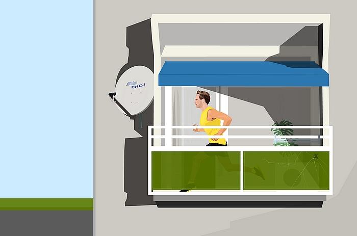 Weiler Péter Közalkalmazott maratonja, tengerkék napernyővel c. alkotása