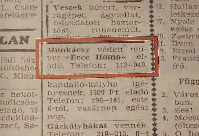 Munkácsy Mihály Ecce Homo c. festményének újsághirdetése