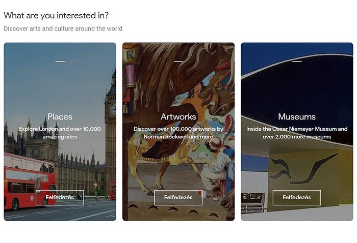 Google Arts & Culture oldalai